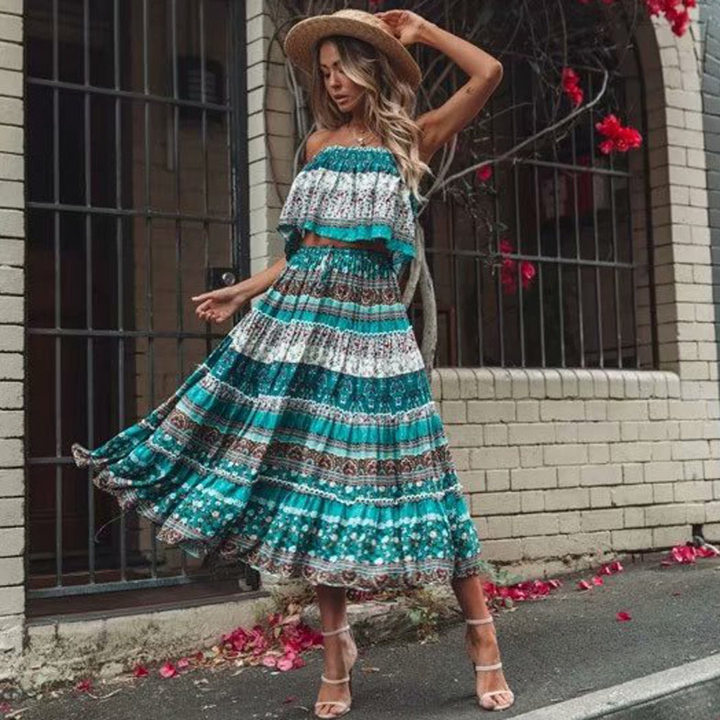Floral Print 2 piece Set Dress Boho Crop Top and Boho Ruffle Skirt