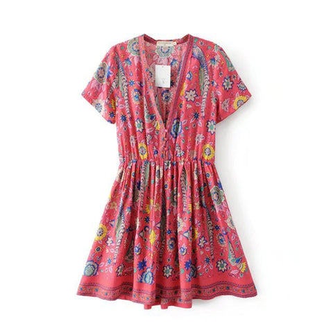Retro Boho Floral Sashes Print Dress