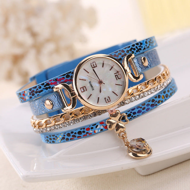 Fashion Watches Women Rose Gold Heart PU Leather Wristwatches