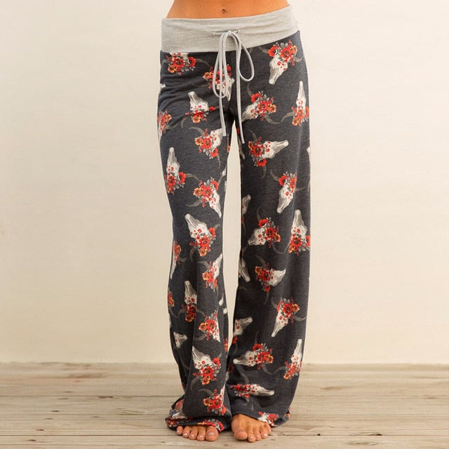Causal Autumn Flower Print Pants