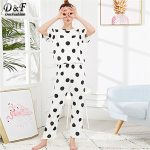 Polka Dot  Black And White Cute Pajama Sets