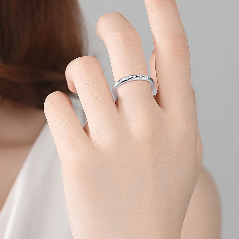 925 Sterling Silver Droplets Stackable Clear CZ Finger Ring