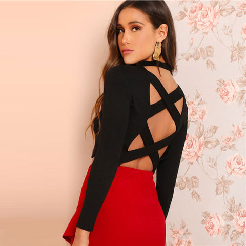 Ladies Night Out Black Criss Cross Backless Solid Pullovers Top