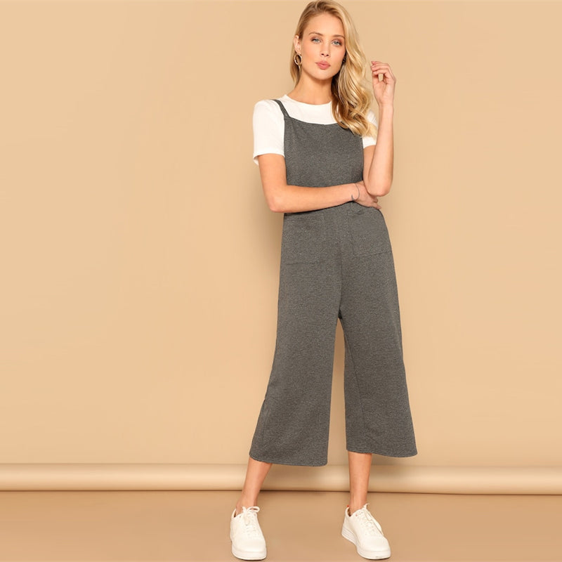 Grey Spaghetti Strap Pocket Patched Wide Leg Stripy Jumpsuit
