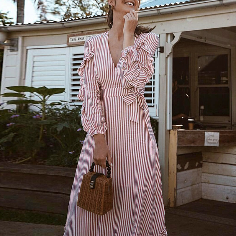Casual Striped Ruffle long sleeve vintage long dress