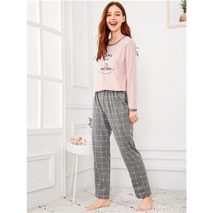 Cartoon Bear Letter Plaid Pajama Set