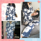 Florals Wrap Top and Pants Pajama Set