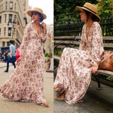 Long Sleeve V-Neck High Waist Floral Printed Loose Boho retro dress