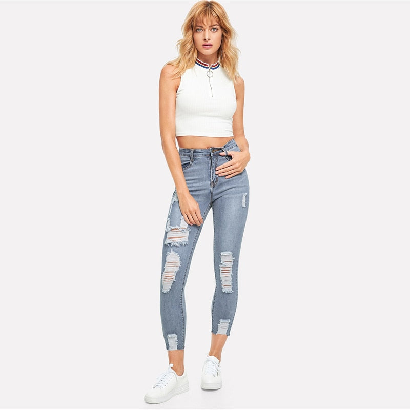 Ripped Bleach Wash Mid Waist Solid Skinny Jeans