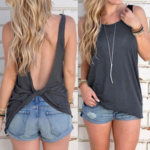 Sexy Sleeveless Backless Knotted Top