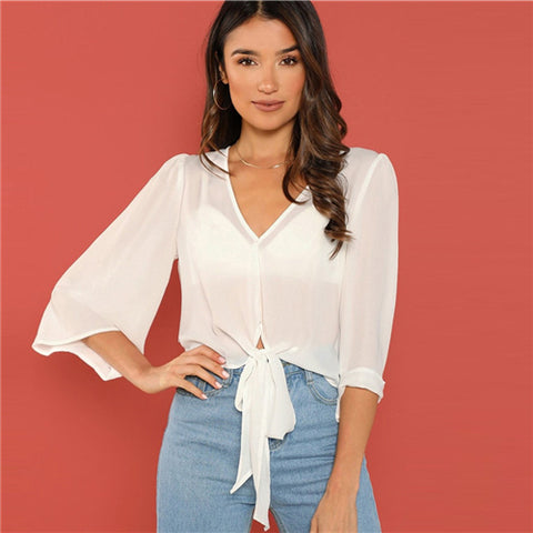 White Solid V-Neck Knot Crop Elegant Blouse Long Sleeve Shirt