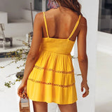 Sweet Sexy Button Hollow Lace Mini Dress