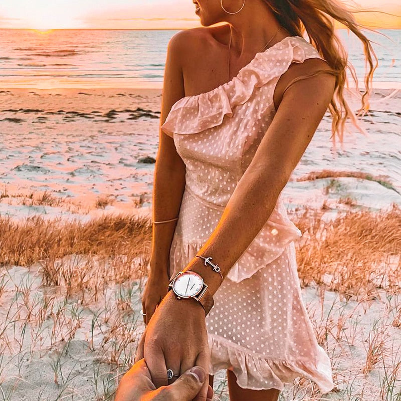 Trendy Sexy One Shoulder Pink Polka Dot Short Dress