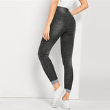 Black Solid Pencil Crop Zipper Fly Mid Waist Female Stretchy Denim jean