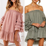 Ruffled Layered Sleeved Casual Dress