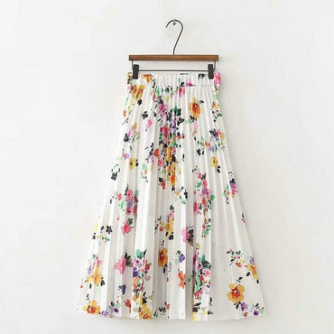 Summer floral pleated skirt