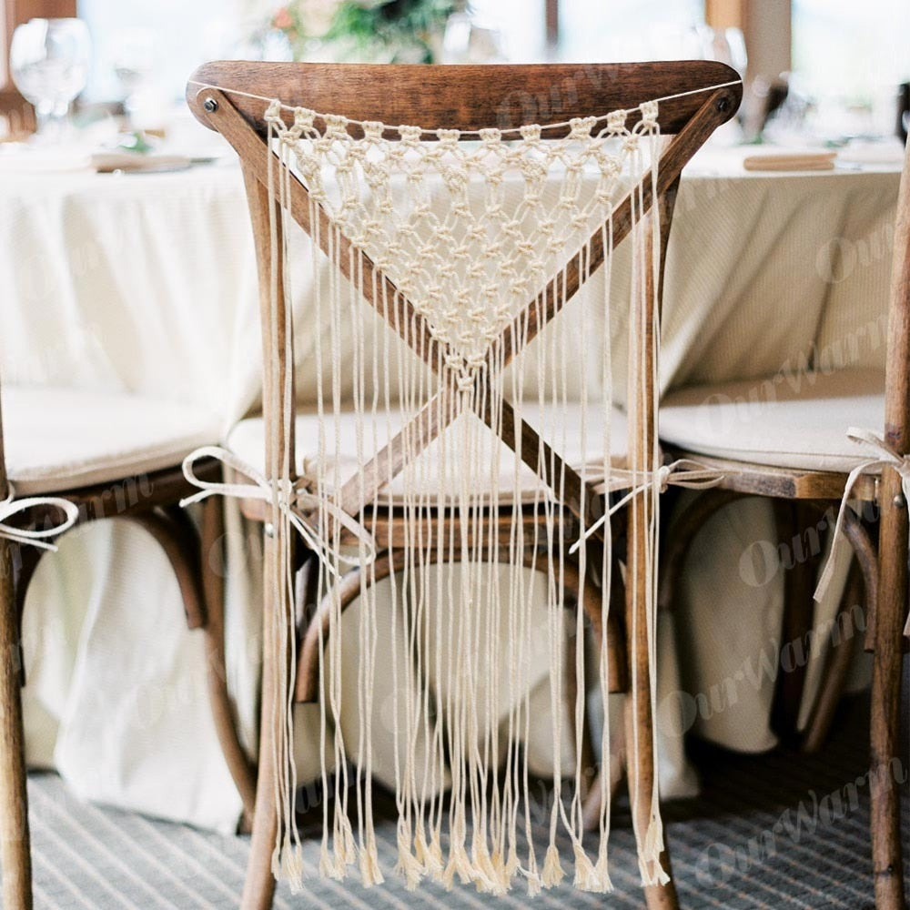 Boho Macrame Wall Hanging Chair Back cover Backdrop Home Wedding Party Decoration