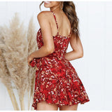 Elegant Red Print Sexy Strap Short Dress