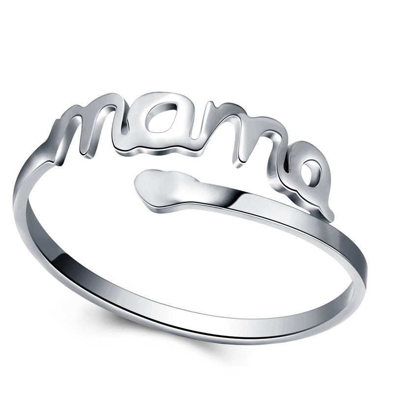 Vintage Silver Heart Love MAMA Stainless Steel Ring