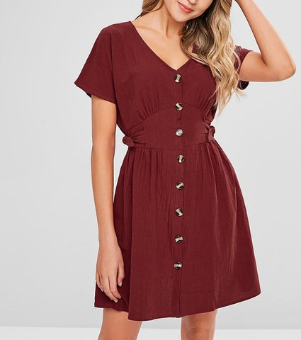 Slim Button  Short Sleeve Cotton Dress