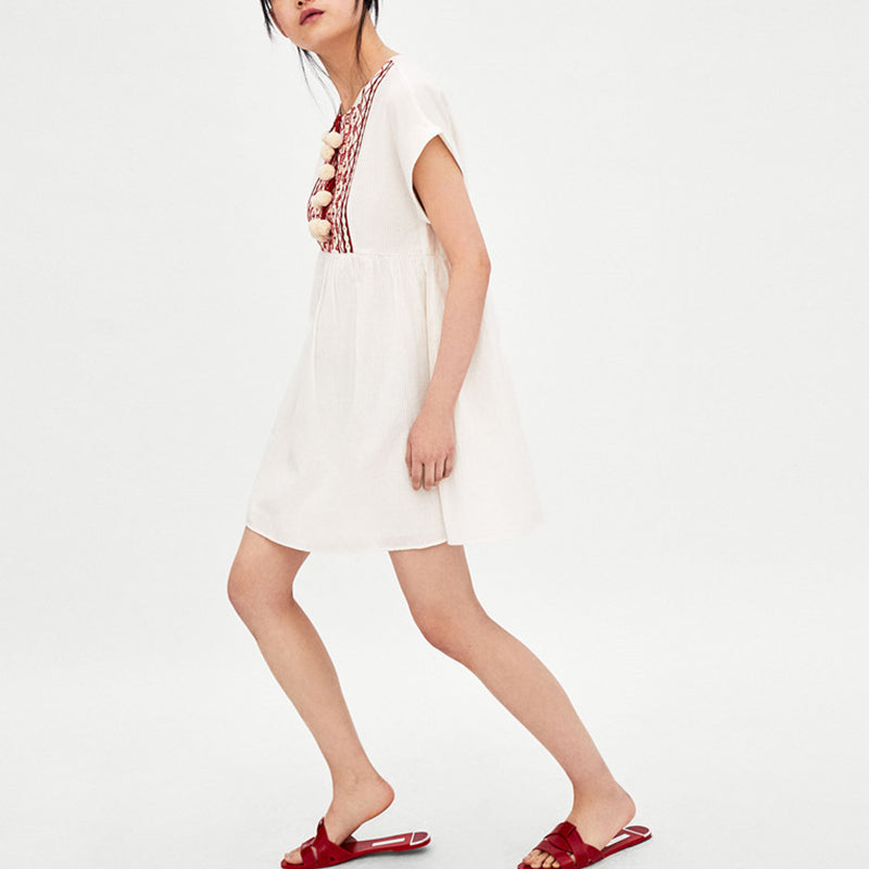 sweet embroidery short sleeves casual button dress