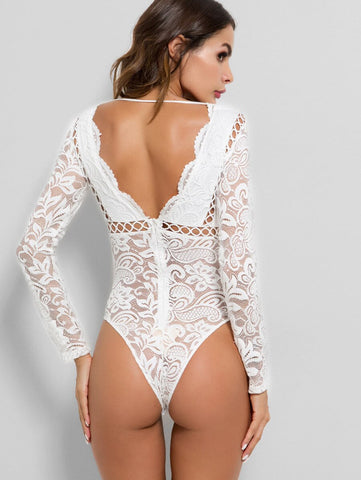 Hollow Out See Through Lace Bodysuit