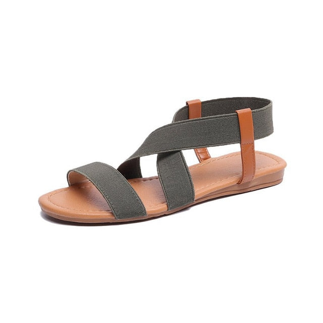 Casual Elastic Band Flat Gladiator Sandals