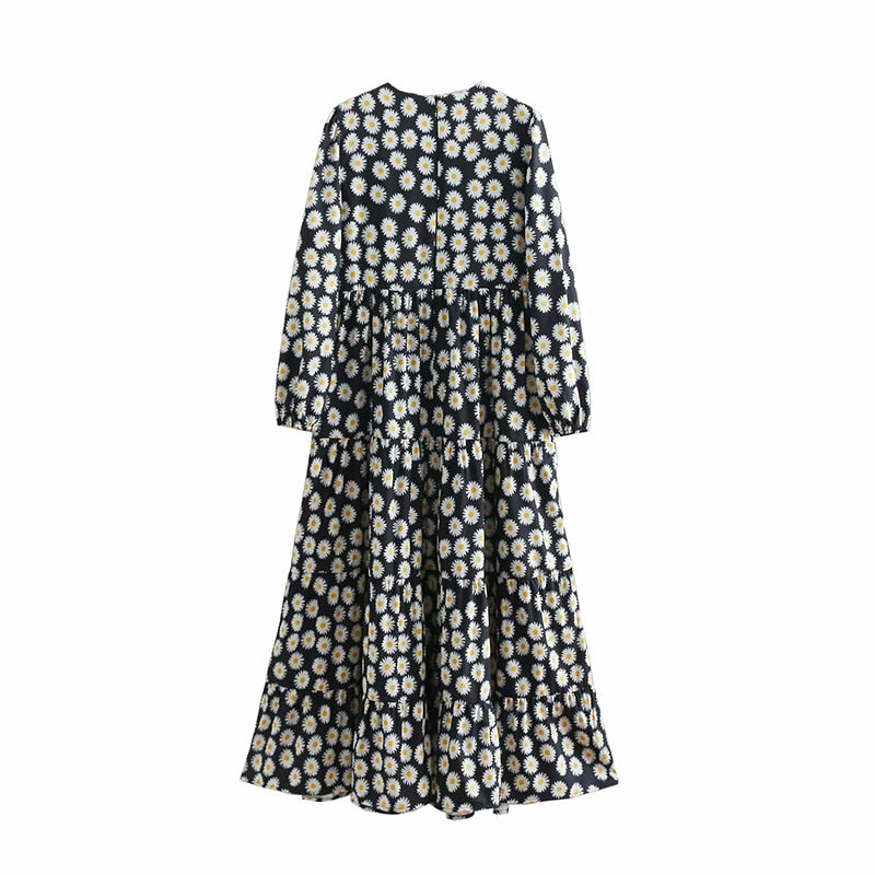 Vintage Ruffled Floral Print Long Sleeve Patchwork Pleated Dresses