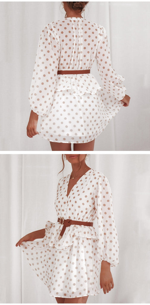 Elegant Polka Dot Chiffon Vintage Long Sleeve Beige Sundress