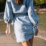 Denim embroidery flower sleeve sash mini dress