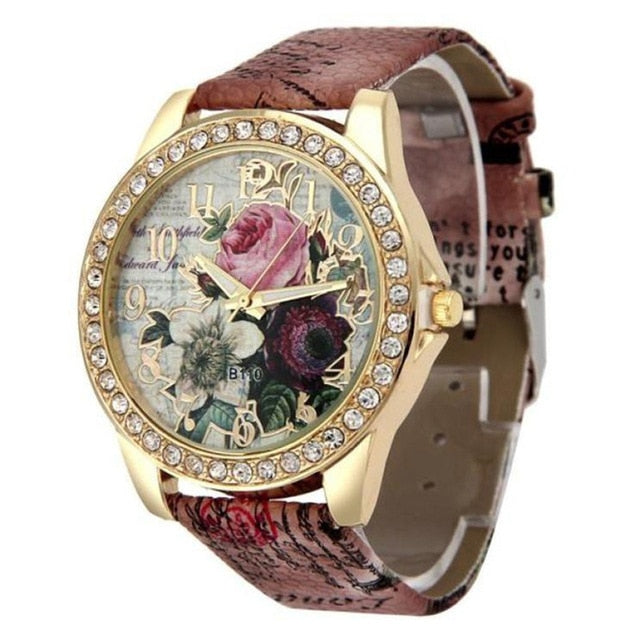 Boho Colorful Flower Pattern Round Dial Faux Leather Strap Quartz Wrist Watch