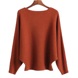 Slash Neck Knitted Winter Batwing Sleeve Sweater