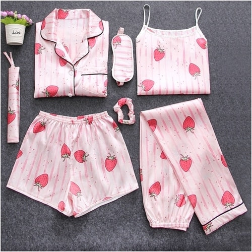 Sweet Cute Sleepwear 7 Pieces Pajamas Set