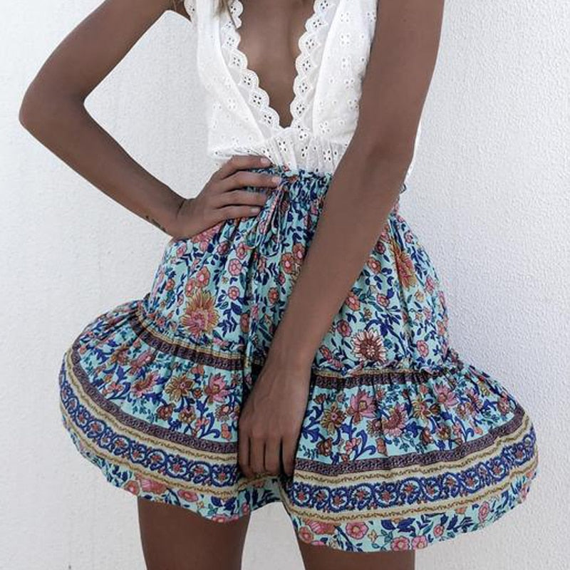 Floral Printed boho mini skirt