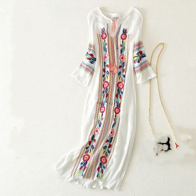 Retro Floral white dresses autumn long sleeve maxi dress
