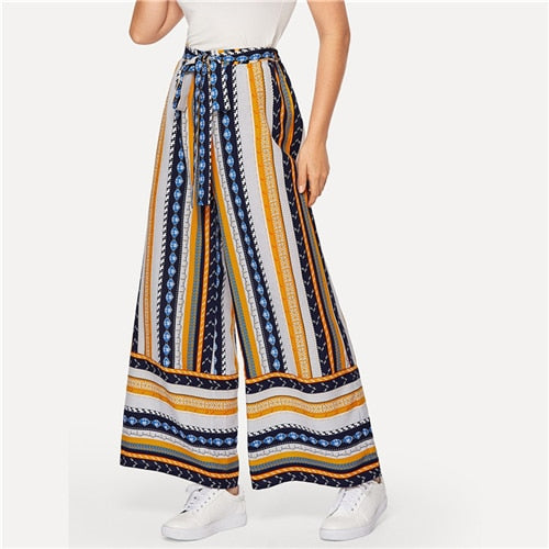 Boho Multicolor Self Belted Geo Print Palazzo Wide Leg Pants