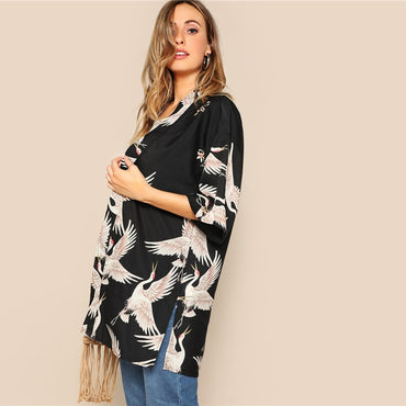 Bohemian Black Crane Bird Print Side Slit Long Kimono Cardigan