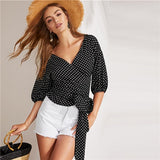 Boho Black Knot Side Surplice Wrap Polka Dot Top