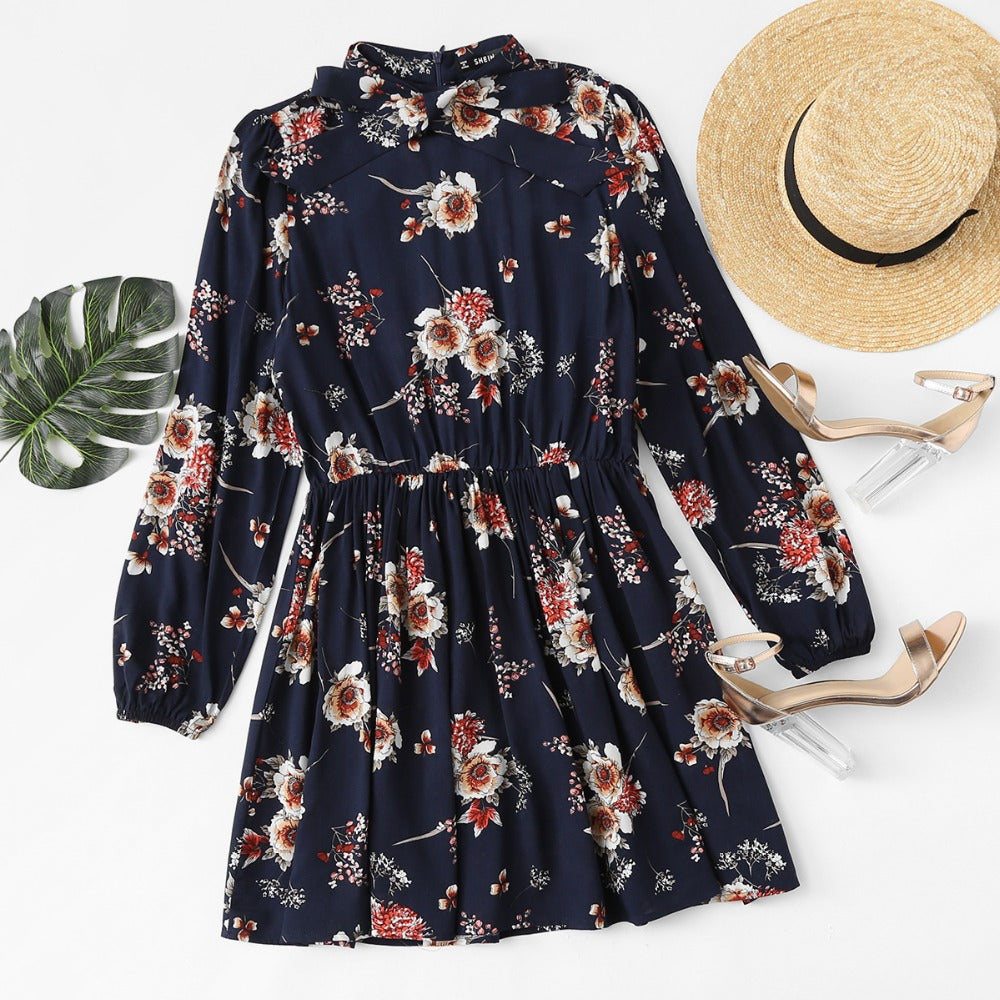 Autumn Floral Elegant Long Sleeve A Line Chic Dress