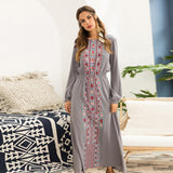 Bohemian Autumn Long Sleeve Floral Print Maxi Dress