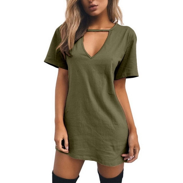 Sexy V Neck Cotton Solid Casual Loose A-Line Mini Dress