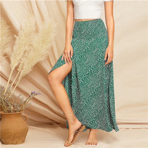 Beach Boho Bright Green Dalmatian Print Wrap Shift Long Skirt