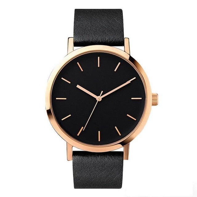 Minimalist Style Leather Band Stainless Steel Analog Quartz Wristwatch