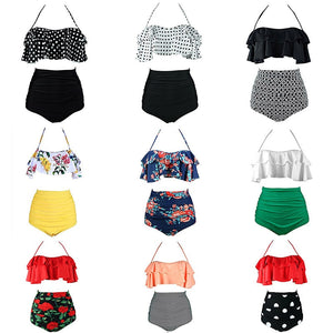 Vintage Print High Waist Push Up Bikini Sets