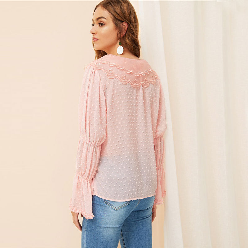 Pastel Pink Flounce Sleeve Mesh Collar Lace Up Jacquard Blouse