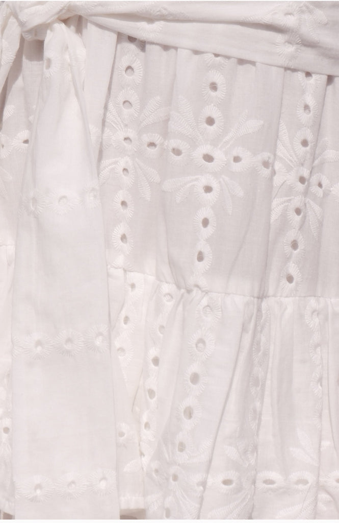White Embroidery Hollow Out  Cotton Dress