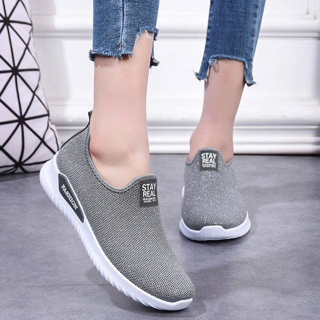 Fashion Sock Vulcanized Casual Slip On Flats Sneakers