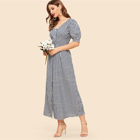 Vintage Black and White Double Button Down Gingham Midi Dress