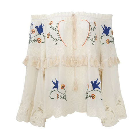 Sexy Off-shoulder Top Vintage Embroidery Blouse Shirt
