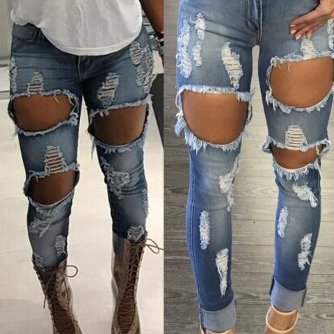 Stretch Hole Jeans Ripped Pencil High Waist Slim Pencil Denim Jeans